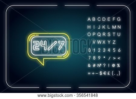 24 7 Hour Online Chat Neon Light Icon. Twenty Four Seven Hours Call Center. Everyday Helpline. Outer