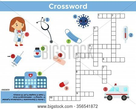 Educational Crossword Game For Children. Cute Cartoon Doctor, Medicine Tools And Virus. Learn Englis
