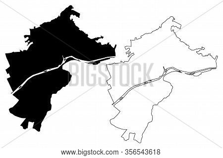 Bolzano City (italian Republic, Italy, Trentino-alto Adige Sudtirol) Map Vector Illustration, Scribb