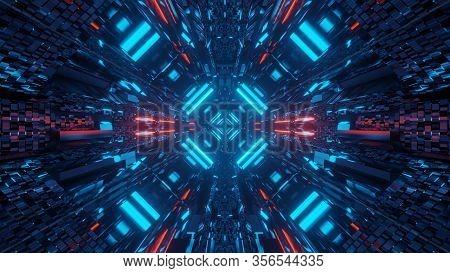 Futuristic 3d Illustration Background Walllpaper With A Sci-fi Space Ship Hangar Tunnel Corridor Pas