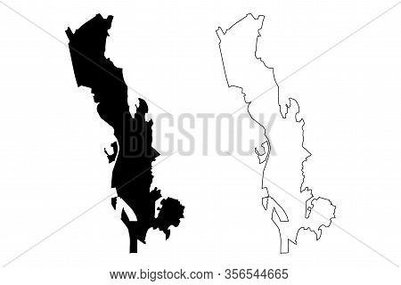 Trento City (italian Republic, Italy, Trentino-alto Adige Sudtirol) Map Vector Illustration, Scribbl