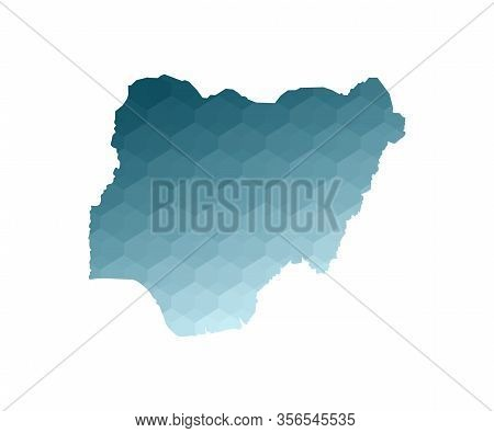 Vector Isolated Illustration Icon With Simplified Blue Silhouette Of Federal Republic Of Nigeria Map