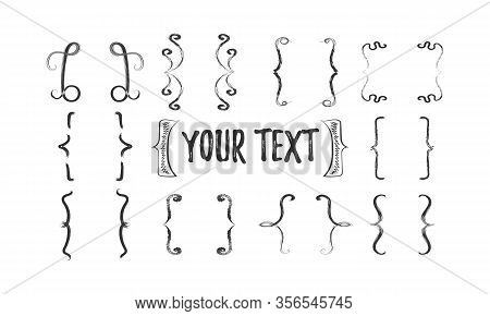 Brackets Vector Vintage Curly Typography Icon. Hand Drawn Simple Brackets Set. Black Hooks. Doodle,