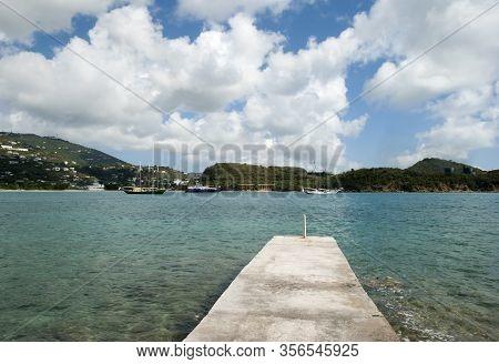 The View Of Ships Drifting In Lindbergh Bay Near Charlotte Amalie Town On St. Thomas Island (u.s. Vi