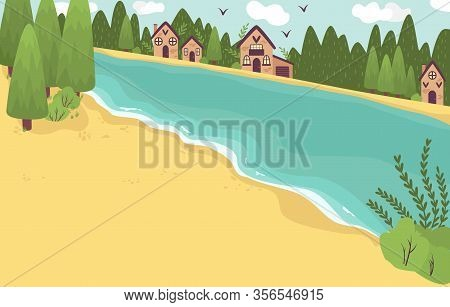 Beach Resort Huts Cottages Hotel On Nord Sea Or Lake Coast In Summer, Trees, Water, Vacation Cartoon