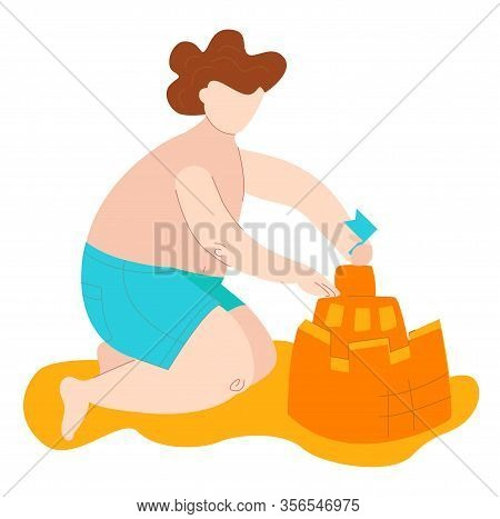 Body Positive Fat Kid In Swimsuits On Sea Builds Sand Castel, Plus Size Caucasian Chid Isolated On W