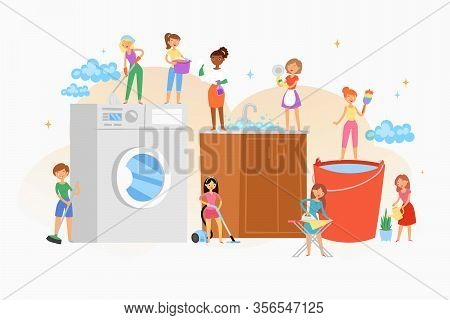 Cleaning House Women Washing Company Cartoon Isolated Composition, Interior Services Household Equip