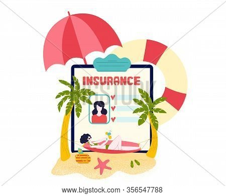 Travel Insurance For Tourists On Vacations -medical Insurant Case Online In Tablet With Beach, Palms