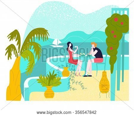Hot Tour Travel For Vacation At Summer, Man And Woman At Sea Hotel Terrace Having Dinner, Tourism Fl