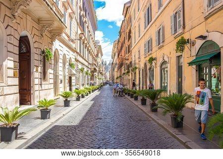 The Street In Rome With The View Of The Church Of The Santissima Trinità Dei Monti Rome, Italy - Jul