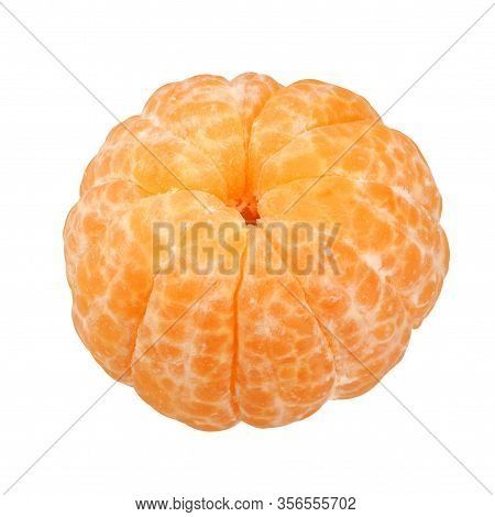 One Skinless Mandarin Isolated On A White Background. Peeled Citrus Fruit.