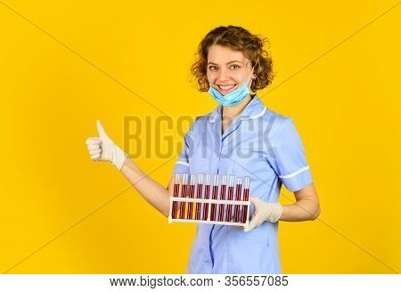 Perfect Remedy. Clear Solution In A Laboratory. Medical Technologist Making Testing With Test Tube.