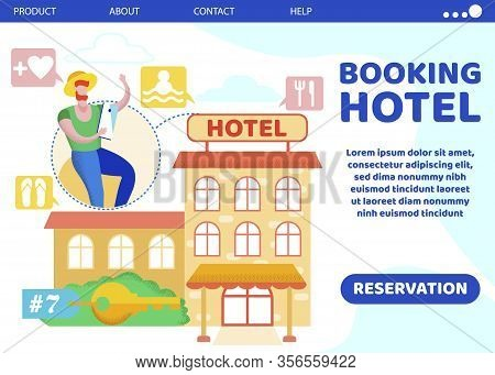 Advertising Flyer Is Written Booking Hotel Flat. Man Designs His Own Leisure, Chooses Services Offer