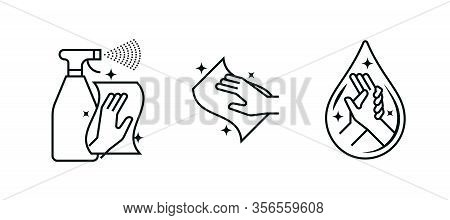 Hand Wash Sanitizer, Antibacterial Wipes And Disinfection Spray Vector Icons. Coronavirus Antiseptic