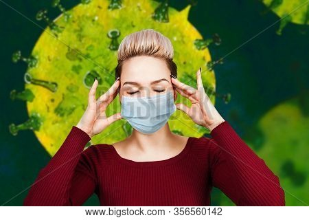 Portrait Young Woman Has Headache, Wearing Protective Face Mask Prevent Virus Infection