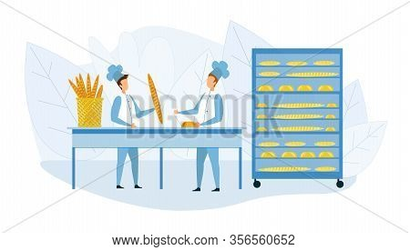 Bakehouse Interior And Bakers In Uniform Cartoon. Male Baker Characters And Fresh High Quality Baker