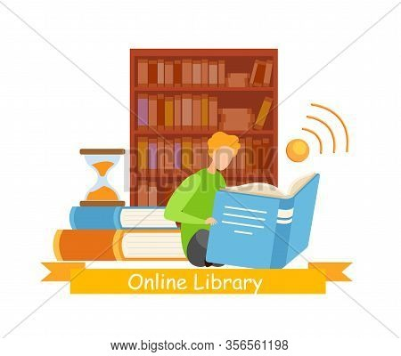 Bibliophile In Library Web Banner Vector Template. Modern, Ancient, Classical Literature E-library A