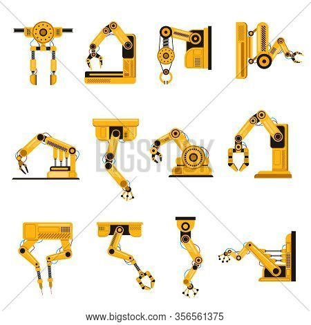 Manufacturing Robots Arms. Automation Equipment, Factory Robots Arm Tools, Manufacture Mechanical Sc