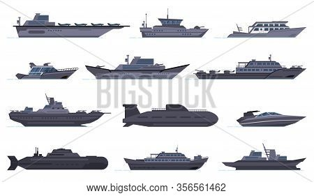 Military Ships. Battle Combat Boats, Missile Ship, Security Boats, Modern Warships And Submarine, Ar
