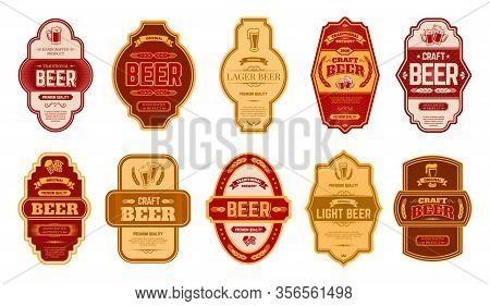 Beer Vintage Labels. Retro Beers Brewery Badges, Alcohol Craft Vintage Lager Can Or Bottle Symbols V