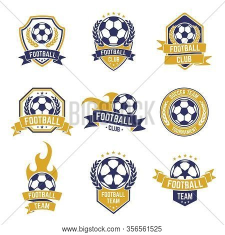 Football Team Labels. Soccer Ball Club Logo, Sport Leagues Championship Stickers, Football Competiti