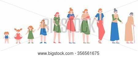 Woman Generations. Female Different Ages, Baby Girl, Teenager, Adult Woman And Elderly Woman, Female