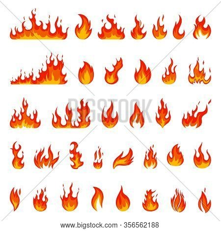 Cartoon Flame. Fire Fireball, Red Hot Campfire, Yellow Heat Wildfire And Bonfire, Burn Power Fiery S