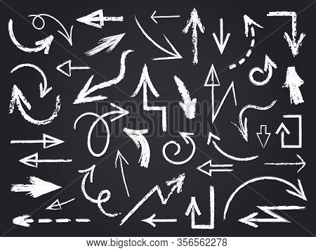 Chalk Sketch Arrow. Hand Drawn Chalk Arrows, Chalkboard Graphic Elements, Chalk Arrow Signs On Chalk