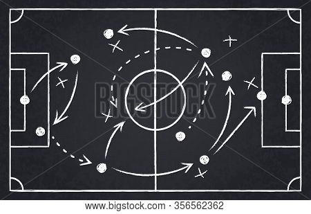 Chalk Soccer Strategy. Football Team Strategy And Play Tactic, Soccer Cup Championship Chalkboard Ga