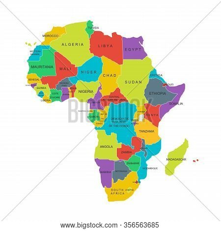 Africa Political Map With Country Names. Details Of Colorful African Maps With All Country Names Iso