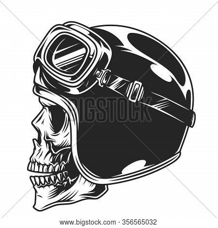 Motorcyclist Skull In Helmet And Goggles In Vintage Style Isolated Vector Illustration