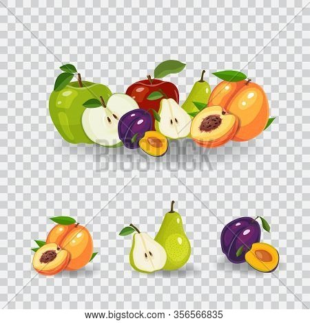 Fresh Fruits Vector Illustration. Healthy Diet Concept. Organic Fruits And Berries. Mix Of Fruits On