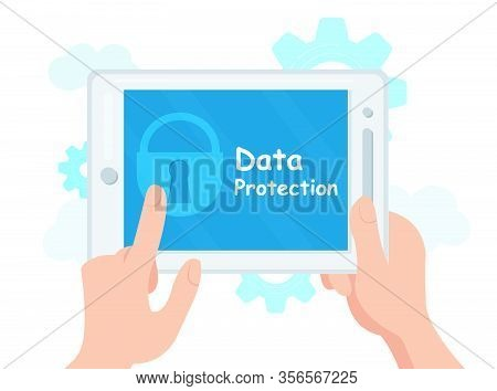 Cryptography, Data Protection Vector Illustration. Privacy Software Flat Banner. Hands Holding Locke