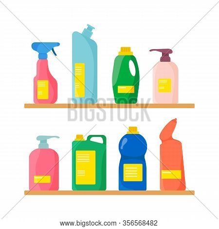 Bottle With Detergent, Purifying Spray, Air Freshener And Laundry Liquid. A Group Of Bottles Of Hous