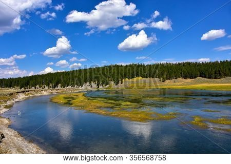 The Yellowstone River In The Hayden Valley, Yellowstone National Park.