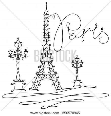 Vector Hand Drawing Sketch. One Line Minimalist Style Illustration Paris Sights. Eiffel Tower, La To
