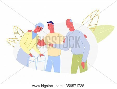 Man Put Hands On Shoulders Older Parents. Active Family Walking. Vector Illustration. Meeting With P