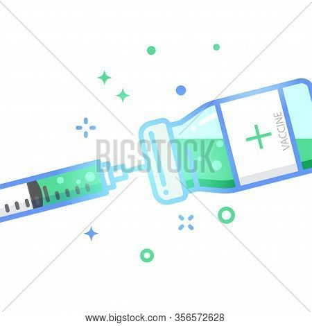 Vaccine Vial Dose Flue Shot Injection Flat Design Vector Illustration.