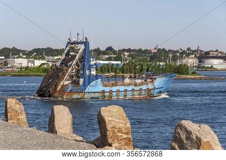 New Bedford, Massachusetts, Usa - July 9, 2019: Clammer Sea Watcher I Crossing New Bedford Inner Har