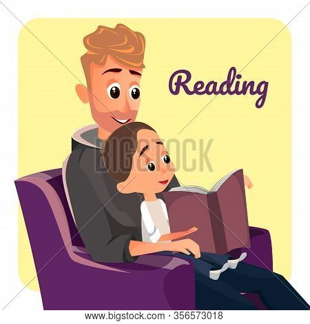 Reading Banner. Father Sit In Armchair Read To Little Son, Boy Listen Vector Illustration. Happy Par