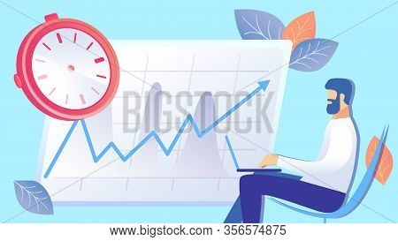 Time Management, Efficiency Rise Flat Illustration. Entrepreneur Working With Laptop Cartoon Charact
