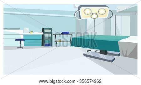 Surgery Room With Operating Table With Illustration. Modern Operating Room With Lamp And Counters. H