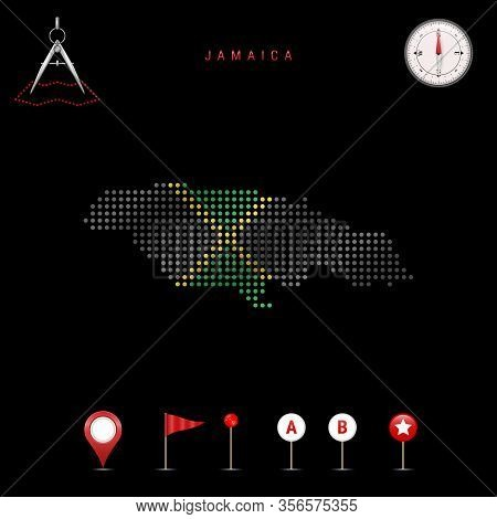 Dotted Map Of Jamaica Painted In The Colors Of The National Flag Of Jamaica. Waving Flag Effect. Map
