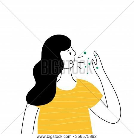 Woman With Coronavirus Epidemy Symptoms. Cough, High Temperature. Virus Infection Sickness. Vector I