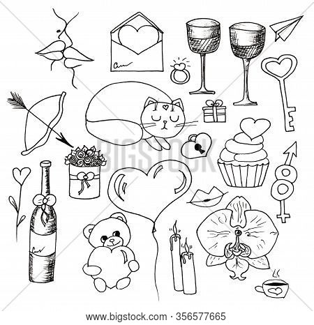 Doodle Set Love Decorative Vintage Elements, Hand Drawn Collection With Arrow, Heart, Tatoo, Flower,