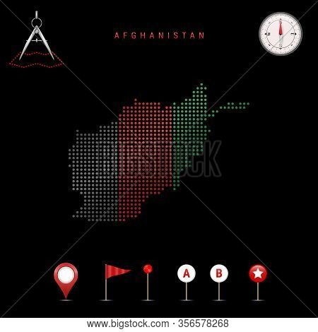 Dotted Map Of Afghanistan Painted In The Colors Of The National Flag Of Afghanistan. Waving Flag Eff