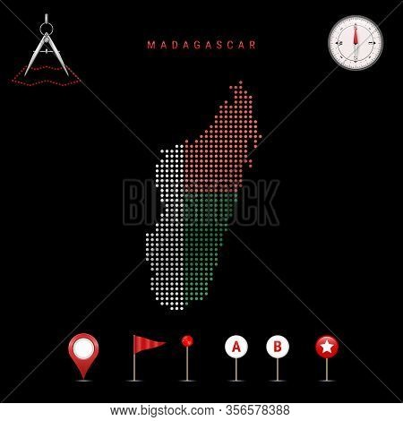 Dotted Map Of Madagascar Painted In The Colors Of The National Flag Of Madagascar. Waving Flag Effec