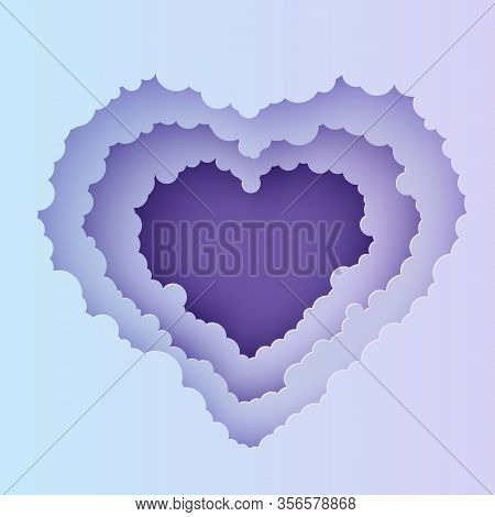 Valentine Cut Out 3d Background With Violet Blue Gradient Cloudy Landscape Papercut Art. Night Sky C