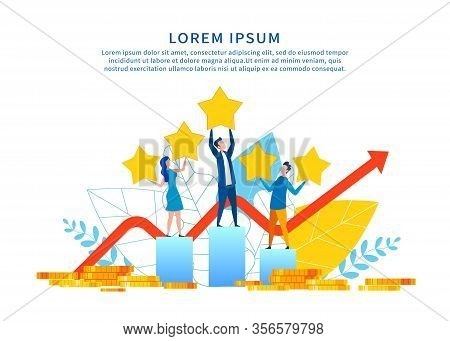 Successful Social Media Marketing Motivate Banner. People Stand On Charts Rate Hold Gold Rating Star