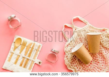 Set Of Reusable Items For Eco-friendly Lifestyle. Cotton Bag, Glass Jars, Wooden Tableware. Zero Was